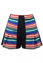 กางเกงขาสั้นพิมพ์ลายตัดต่อผ้าสีน้ำเงินแดง