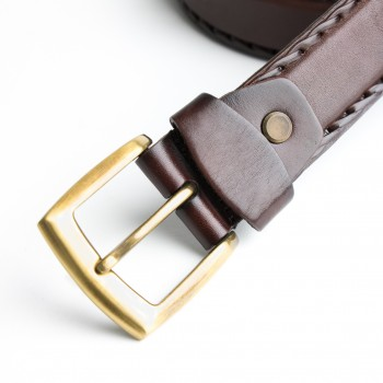 DGRIE BASIC BROWN LEATHER BELT WITH GOLD TONE BUCKLE