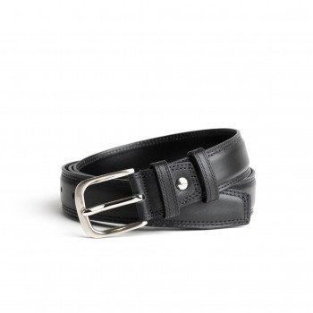 DGRIE BASIC BLACK LEATHER BELT WITH SILVER TONE CURVE BUCKLE