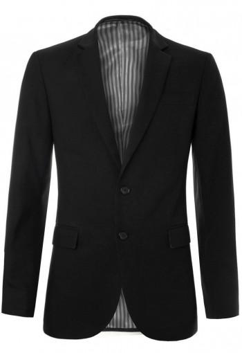 เสื้อสูทสีดำกระดุมสองเม็ด ซับในลายทาง
