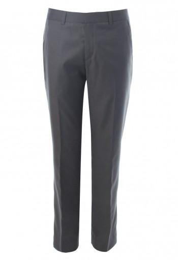 กางเกงทรงกระบอก สีเทา ผ้าวูล