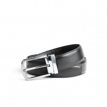 DGRIE ORIGINAL BLACK LEATHER BELT WITH SILVER TONE BUCKLE