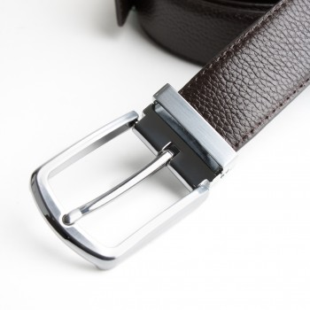 DGRIE ORIGINAL BROWN LEATHER BELT WITH SILVER TONE BUCKLE