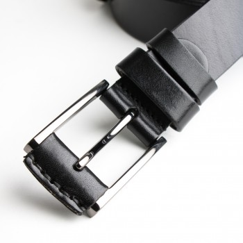 DGRIE BASIC BLACK LEATHER BELT WITH SILVER TONE BUCKLE