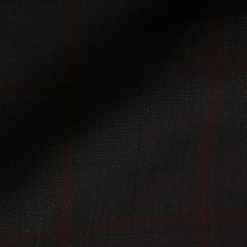 VERY DARK (MOSTLY BLACK) BROWN WINDOWPANE PLAID WOOL BLEND