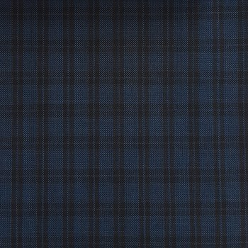 BLUE AND BLACK TARTAN CHECK FABRIC WOOL BLEND