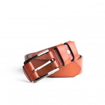 DGRIE BASIC BROWN LEATHER BELT WITH SILVER TONE BUCKLE