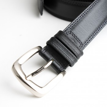 DGRIE BASIC BLACK LEATHER BELT WITH SILVER TONE SQUARE BUCKLE