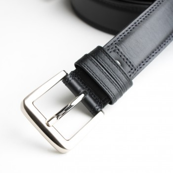 DGRIE BASIC BLACK LEATHER BELT WITH SILVER TONE FLAT BUCKLE