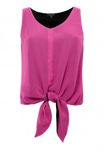เสื้อชีฟองผูกปลายสีชมพู ช็อคกิ้งพิ้งค์