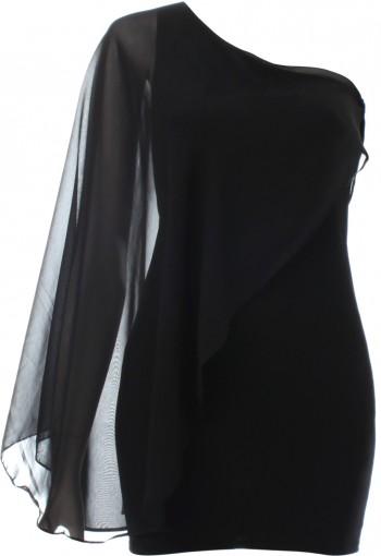 ชุดเดรสสีดำแขนเดี่ยวตัดต่อผ้าชีฟอง