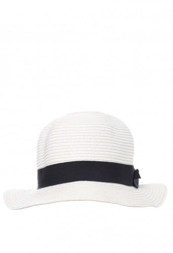 หมวกปีกกลมสีขาวออฟไวท์ผูกโบว์