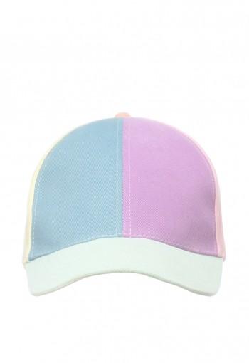 หมวกผ้าสีพาสเทล ด้านหน้าสีม่วงฟ้า