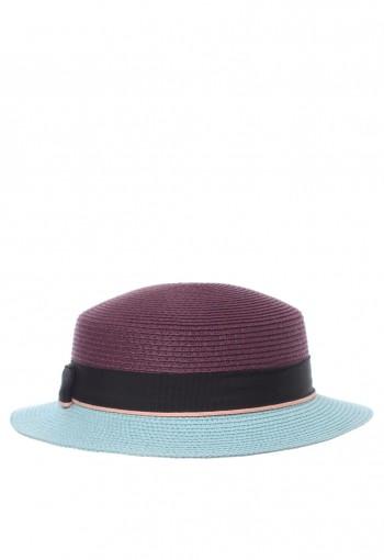 หมวกสีม่วงตัดสีฟ้า