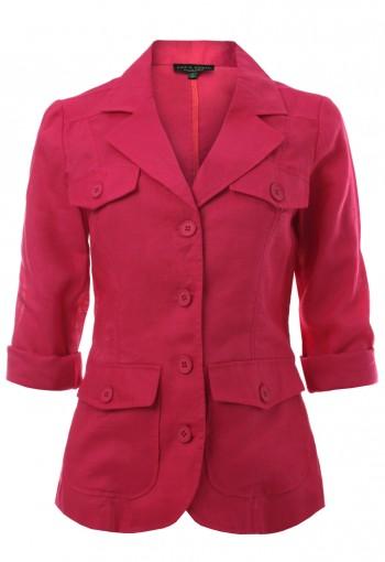 เสื้อแจ็คเก็ตสีบานเย็นกระเป๋า 4 ใบ
