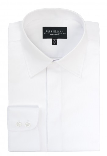 WHITE STRAIGHT POINT COLLAR SHIRT