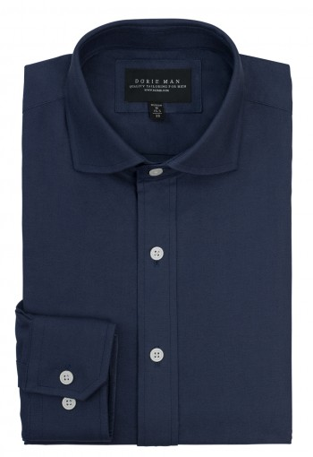 BLUE CURVE SPREAD COLLAR SHIRT