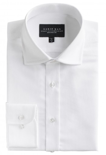 WHITE CURVE SPREAD COLLAR SHIRT