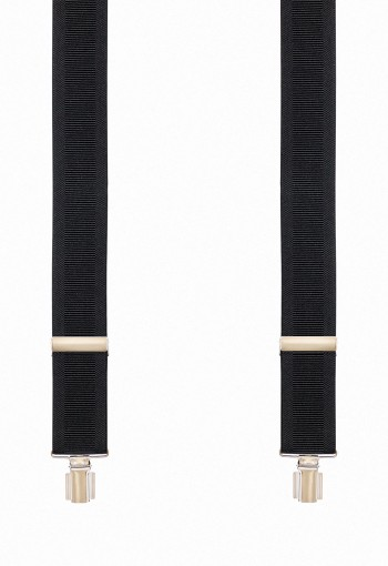 PLAIN BLACK SUSPENDERS (2) 3.5 CM