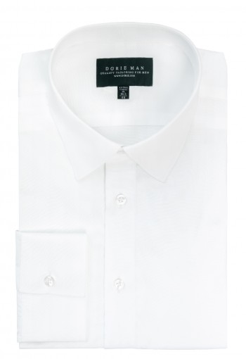 WHITE SEMI SPREAD COLLAR SHIRT