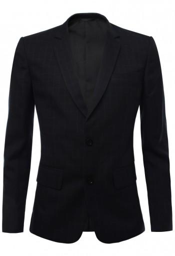 เสื้อสูท สีดำ-กรมเข้ม ลายตารางเส้นเล็กสีขาว