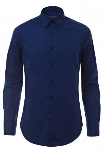 เสื้อเชิ้ตผ้ายืดสีน้ำเงิน