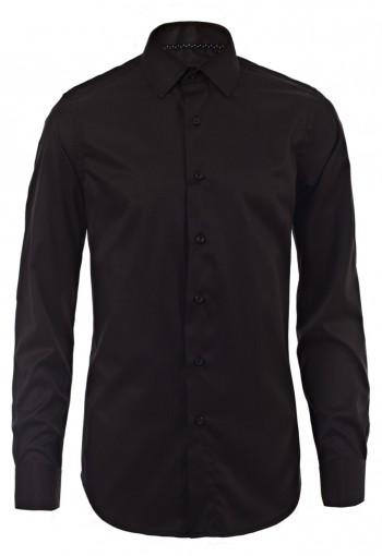 เสื้อเชิ้ตลายก้างปลาสีดำ