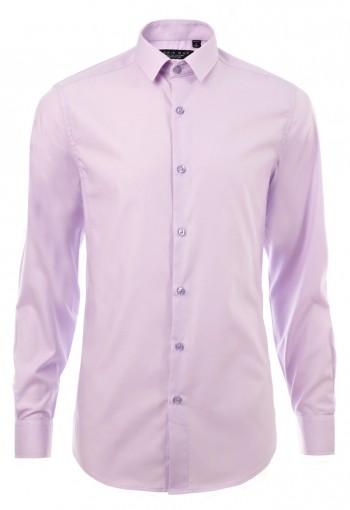 เสื้อเชิ้ตปกเล็กสีชมพูม่วง