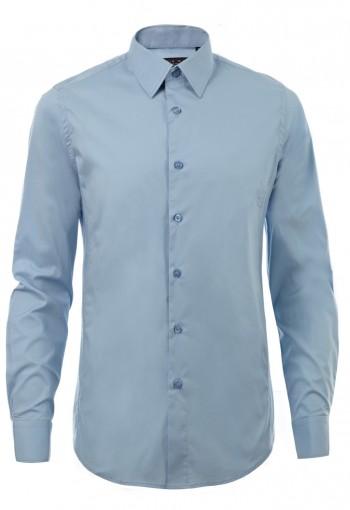 เสื้อเชิ้ตผ้ายืดสีฟ้า
