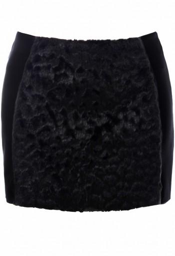 กระโปรงสีดำตัดต่อผ้าขนสัตว์ด้านหน้า