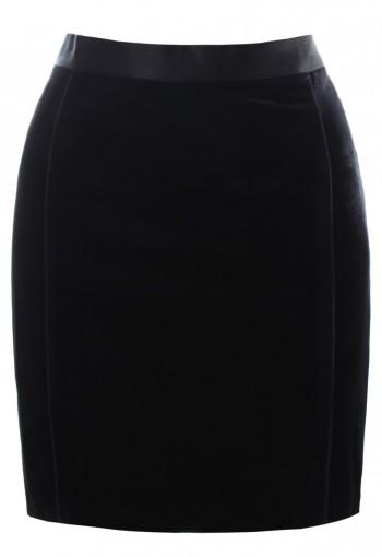 กระโปรงกำมะหยี่ยืดสีดำ