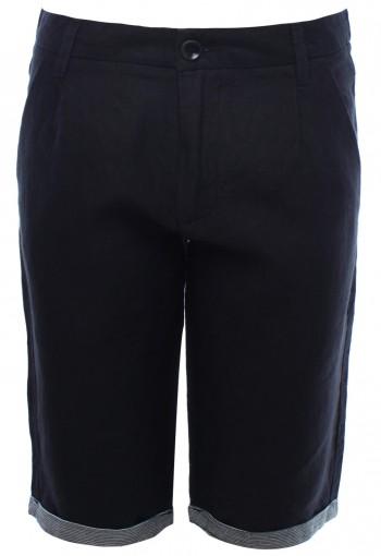กางเกงขาสั้นตัดต่อผ้าลายสีเทาเข้ม