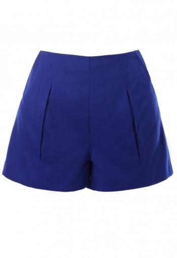 กางเกงขาสั้นสีน้ำเงิน จับจีบทวิส