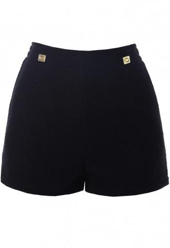 กางเกงขาสั้นสีดำซิปหลัง