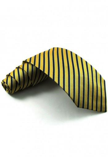 เนคไททอลายเส้นสลับสีเหลือง