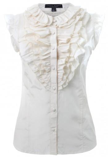 เสื้อสีขาวออฟไวท์จับระบายคอ