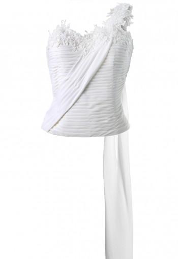 เสื้อคอเซทสีขาวออฟไวท์ปักลูกไม้