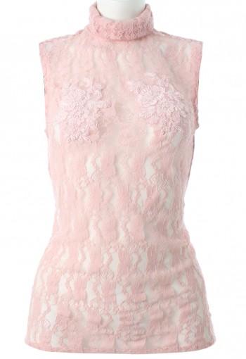 เสื้อลูกไม้คอเต่าสีชมพูพาสเทล