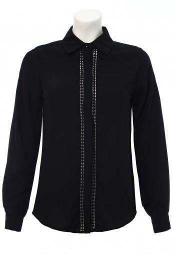 เสื้อเช้ิตสีดำ แขนยาว ผ้าชีฟอง