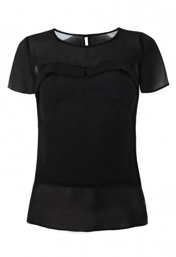 เสื้ื้อชีฟองสีดำตัดต่อผ้า