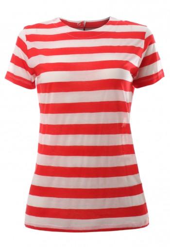 เสื้อยืดแขนสั้นลายทางสีแดง