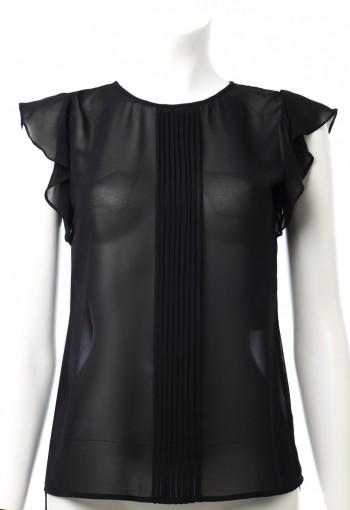 เสื้อสีดำ ผ้าชีฟอง ระบายไหล่