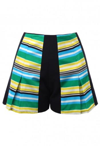 กางเกงขาสั้นพิมพ์ลายตัดต่อผ้าสีเขียวเหลือง