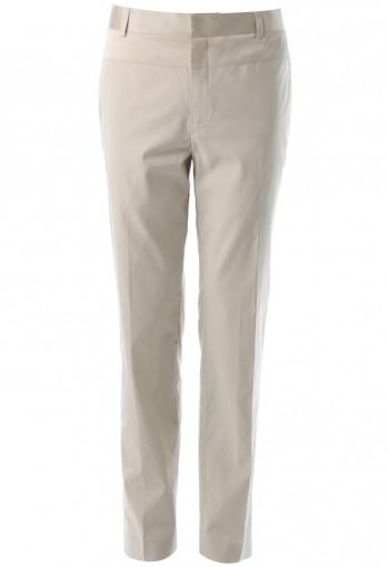 กางเกงทรงกระบอก สีกากีอ่อน ตัดต่อผ้า