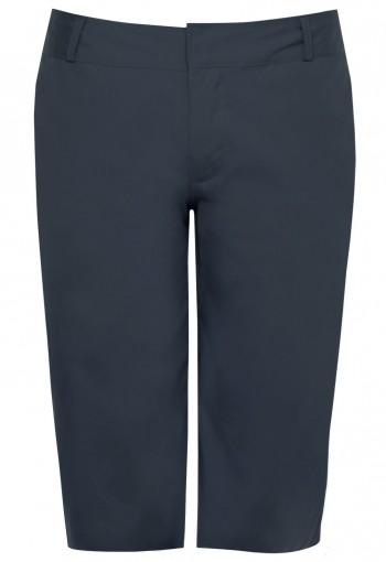กางเกงขาสั้นสีเทา ซิปกระเป๋าหลังสีน้ำเงิน