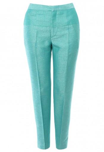 กางเกงผ้าไหม ตัดต่อสีเขียวเทอร์คอยซ์
