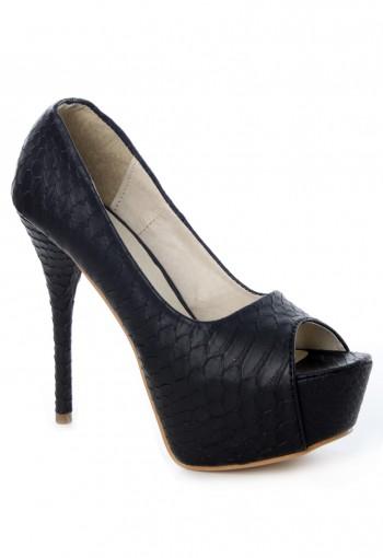 รองเท้าส้นสูงหนังงูสีดำ
