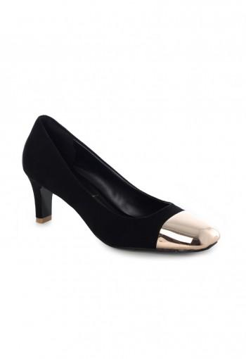 รองเท้าผ้ากำมะหยี่สีดำหัวเหล็ก