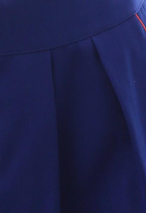 กระโปรงซิปหน้าจับเกล็ดสีน้ำเงิน