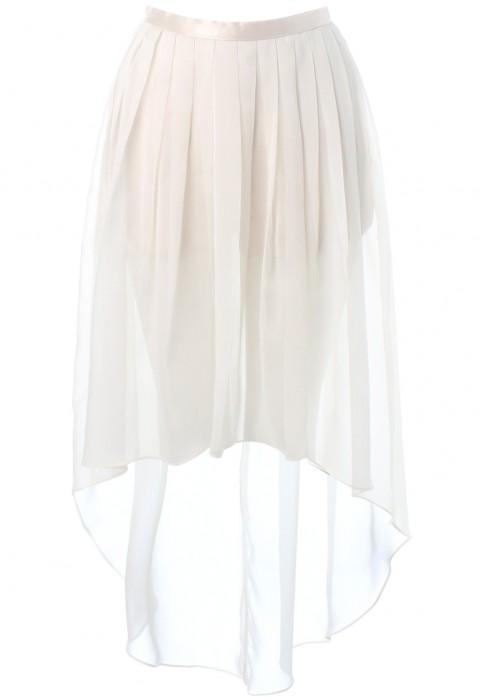 กางเกงกระโปรงขาสั้น สีขาวออฟไวท์